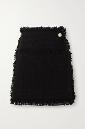 IRO Ario Frayed Boucle Mini Skirt - Black