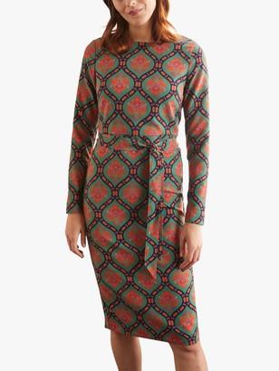 Boden Harriet Abstract Floral Knee Length Dress, Sage Green/Bloom