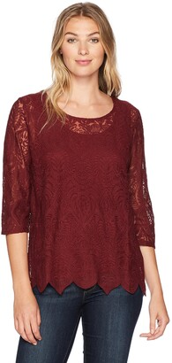 Tribal Women's 3/4 SLV Embroidered Mesh Top
