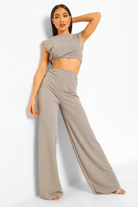 boohoo Mix & Match Shimmer Wide Leg Trousers
