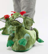 Asos Design Dragon Slippers In Green