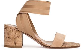 Gianvito Rossi Nude suede elastic sandals