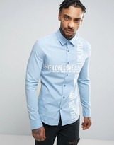 Love Moschino Shirt With Text Print In Slim Fit