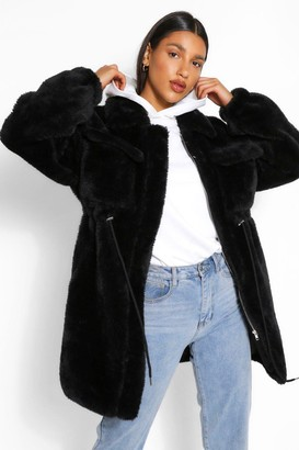 boohoo Longline Teddy Faux Fur Jacket
