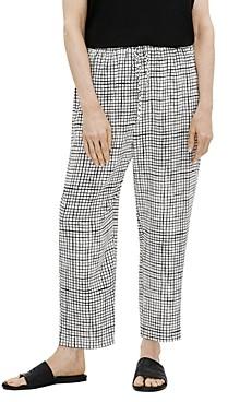 Eileen Fisher Grid Print Slouchy Crop Pants