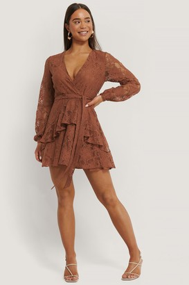 NA-KD Lace Tie Frill Dress