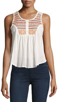 Raga Embroidered Mesh Tank, Eggshell