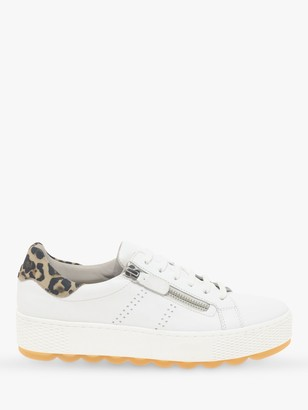 Gabor Wide Fit Quench Leather Comfort Flatform Trainers, White/Leopard