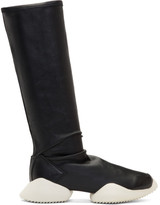 Rick Owens Blak and White Adidas Originals Edition Viscous Stretch Sock Sneakers