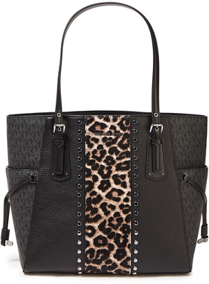 MICHAEL Michael Kors Leopard-print Calf Hair, Textured-leather And Logo-print Faux Leather Tote