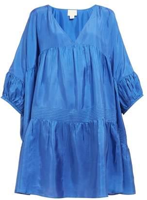 Anaak - Airi Gathered Silk-satin Dress - Womens - Blue