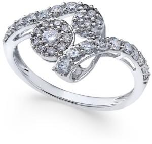 Macy's Diamond Swirl Cluster Ring (3/4 ct. t.w.) in 14k White Gold