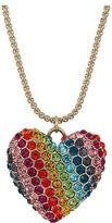 Betsey Johnson Rainbow Pave Heart Pendant Necklace Necklace