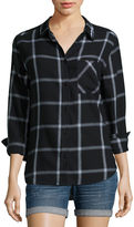Arizona Fall in Love Long-Sleeve Boyfriend Plaid Shirt - Juniors