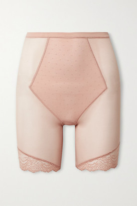 Spanx Spotlight Lace-trimmed Stretch-tulle Shorts - Beige