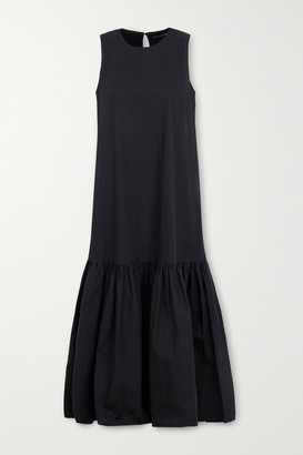 Frankie Shop Loulou Tiered Cotton-poplin Midi Dress - Black