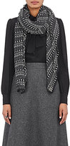 Saint Laurent Women's Etamine Skeleton-Print Cashmere-Silk Scarf-BLACK