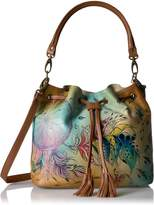 Anuschka Anna By Anuschka, Handpainted Leather Drawstring Satchel- Shoulder Bag