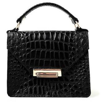 Angela Valentine Handbags Gavi Mini Bag In Black Crocodile Embossed Leather