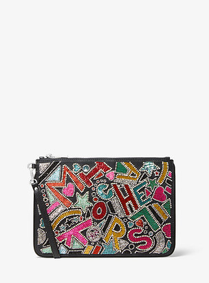 Michael Kors Large Party Bead Leather Zip Pouch