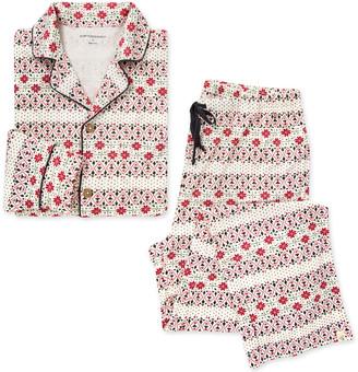 Burt's Bees Bold Fair Isle Organic Womens Notch Collar Shirt & Lounge Pants Sleepwear Set Family Pajamas
