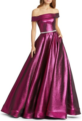 Mac Duggal Off the Shoulder Metallic Ballgown
