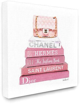 Stupell Pink Book Stack Fashion Handbag Canvas Art