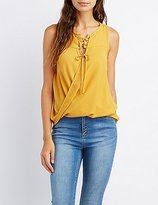 Charlotte Russe Lace-Up Surplice Tank Top