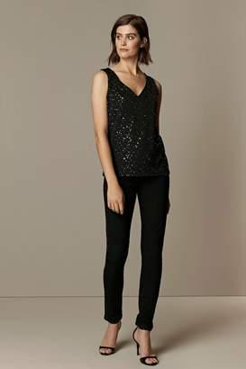 Wallis **TALL Black Sequin V-Neck Camisole