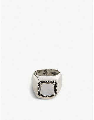 Signet stone-embellished silver-plated brass ring