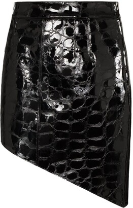 Alexander Wang Asymmetric Crocodile-Effect Mini Skirt