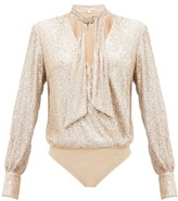 Jonathan Simkhai Sequinned Pussy-bow Wrap Bodysuit - Womens - Light Gold