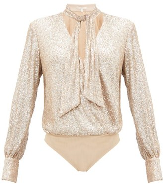 Jonathan Simkhai Sequinned Pussy Bow Wrap Bodysuit - Womens - Light Gold