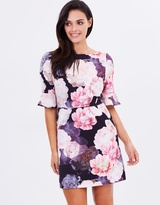 Oasis Spring Bloom Flute Sleeve Shift Dress