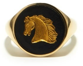 Ferian - Horse Wedgwood Cameo & 9kt Gold Signet Ring - Black Gold