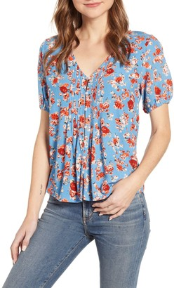 Lucky Brand Floral Pintuck Pleat Top