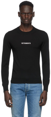 Vetements Black Merino Logo Crewneck Sweater
