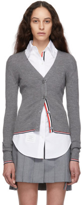Thom Browne Grey Rib Stitch Tipping Stripe Cardigan