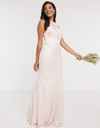 ASOS DESIGN Bridesmaid halter pleated maxi dress with paneled skirt