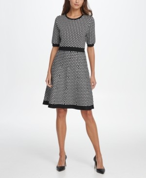 DKNY Windowpane Sweater Dress