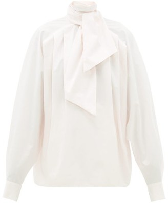 Matthew Adams Dolan Pleated High-neck Cotton Poplin Blouse - Light Pink