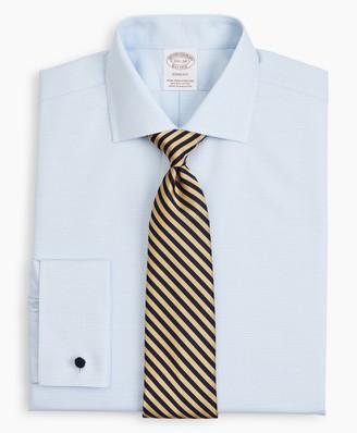 Brooks Brothers Stretch Soho Extra-Slim-Fit Dress Shirt, Non-Iron Twill English Collar French Cuff Micro-Check