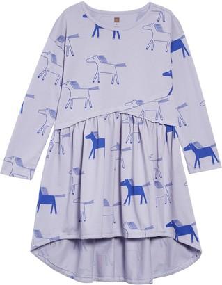 Tea Collection Print Asymmetrical Wrap Dress