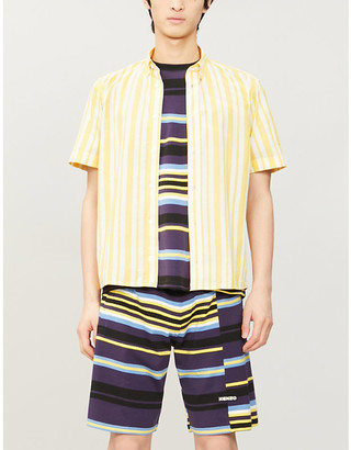 Kenzo Striped casual-fit cotton and silk-blend shirt