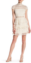 Romeo & Juliet Couture Woven Cap Sleeve Mock Neck Lace Dress