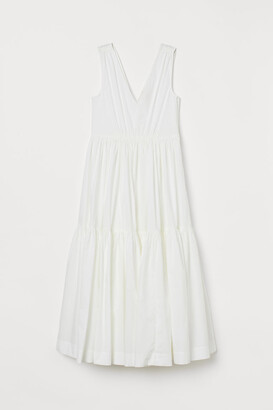 H&M Long V-neck Dress - White