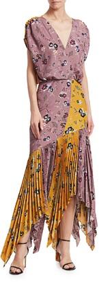 Silvia Tcherassi Drustil Asymmetric Pleated Floral Midi Dress
