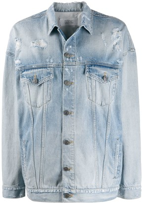 Givenchy oversized distressed logo denim jacket