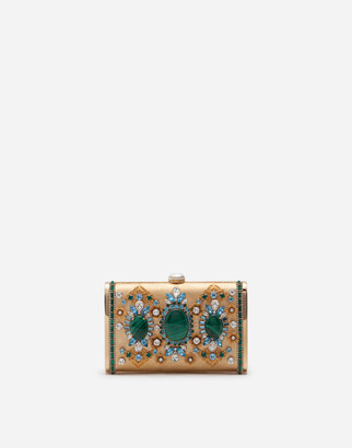 Dolce & Gabbana Metal Marlene Clutch With Jewels