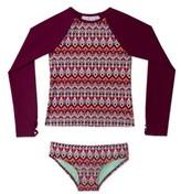 Gossip Girl Girl's Deco Diamond Print Two-Piece Rashguard Swimsuit